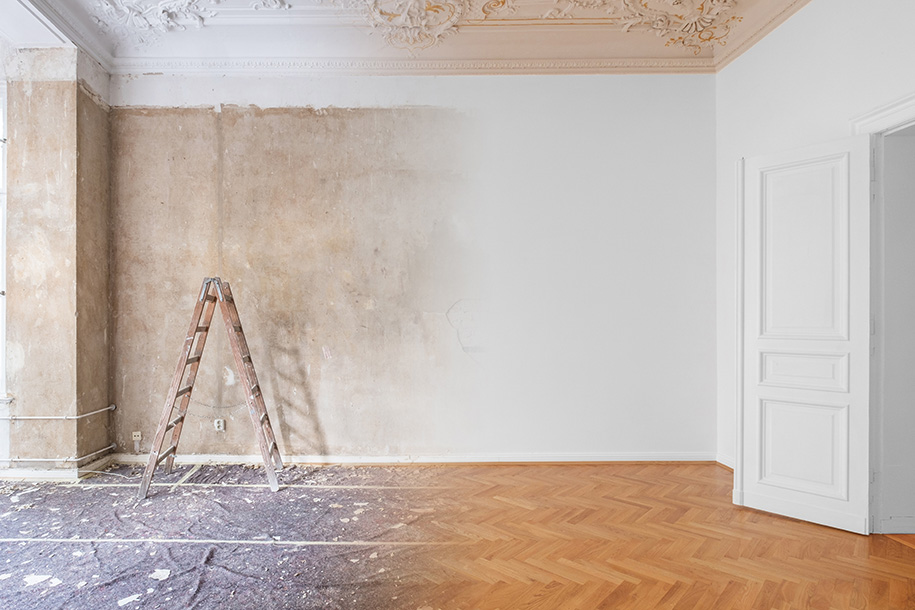 Streicharbeiten – Vorher-Nachher-Bild eines gestrichenen Zimmers – Talent Entrümpelung