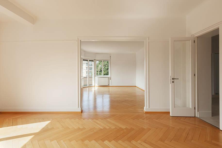 Perspective of Empty white basement concrete room
